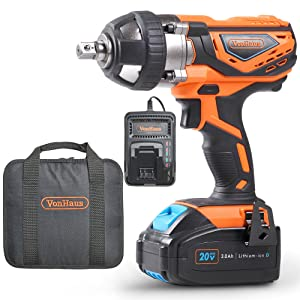 """VonHaus 20V MAX Cordless 1/2"""" Impact Wrench Set High Torque with Variable Speed - Includes 3Ah Lithium-ion Battery, Smart Charger, Belt Hook and Tool Bag"""