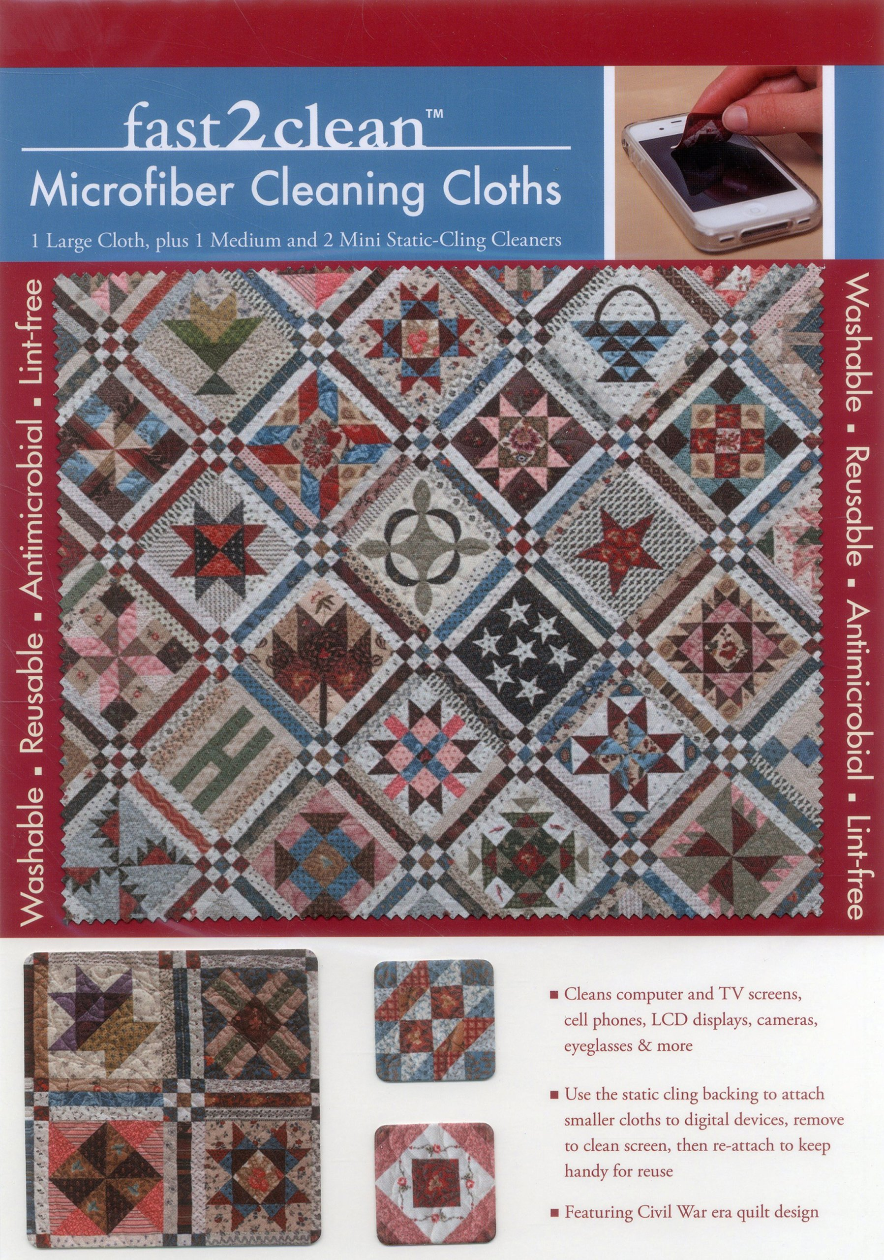 Download fast2clean Civil War Sampler Quilt Microfiber Cleaning Cloths: 1 Large Cloth, plus 1 Medium and 2 Mini Static-Cling Cleaners ebook