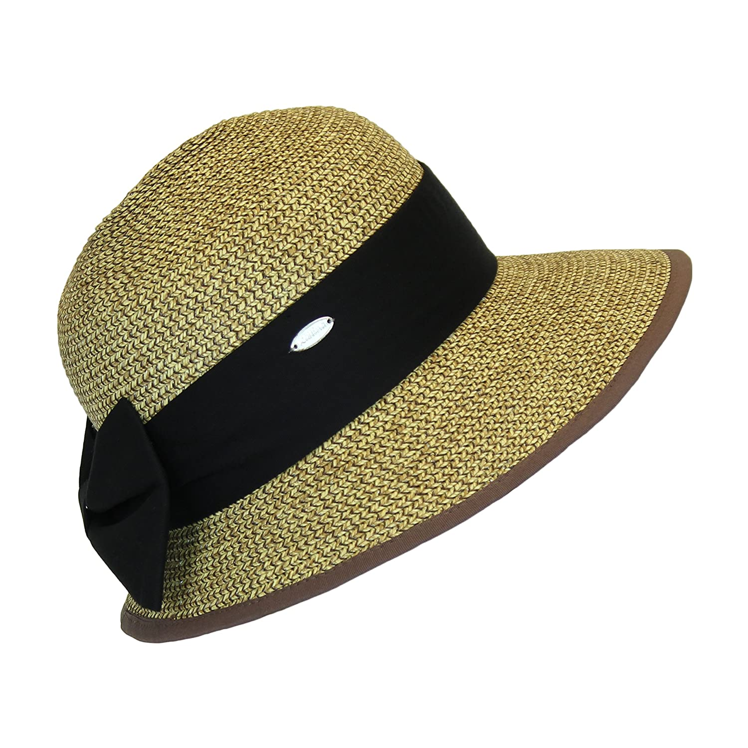 62f1b4e3e6f Straw Packable Sun Hat with Brown at Amazon Women s Clothing store