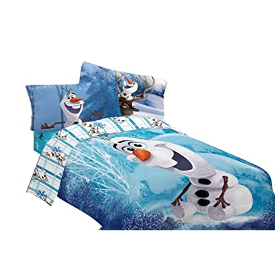 "Disney Frozen Olaf Build a Snowman 72"" x 86"" Microfiber Comforter, Twin/Full: Home & Kitchen"