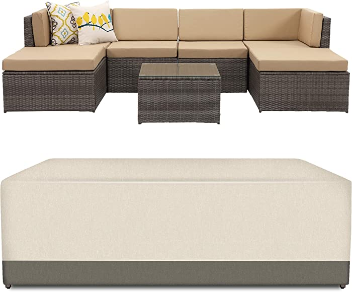 Wisteria Lane Veranda Patio Furniture Waterproof Durable Cover,Suit for 7 Piece Outdoor Sectional Sofa (Beige & Brown)