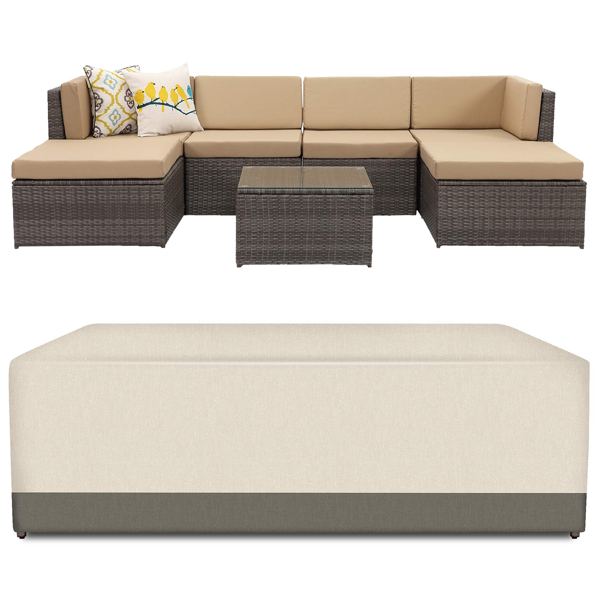 Wisteria Lane Veranda Patio Furniture Waterproof Durable Cover,Suit for 7 Piece Outdoor Sectional Sofa (Beige & Brown) by Wisteria Lane