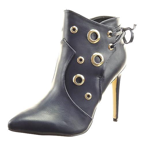 Sopily - Zapatillas de Moda Botines Stiletto Low Boots Tobillo Mujer Perforado Dorado Cordones Talón Tacón