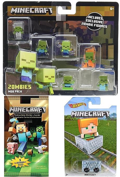 Amazoncom Minecraft Zombies Hot Wheels MineCart MiniFigure Mob - Minecart minecraft teleport to player