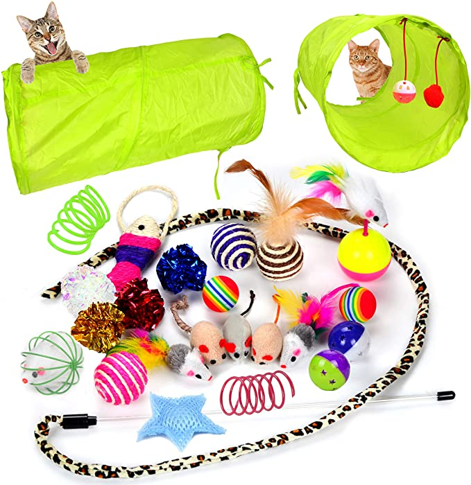 M.Q.L Kitty Interactive Toy Set Retractable Cat Teaser Wand 20Pcs Cat Feather Wand Toys Natural Feathers with Vibrant Colours
