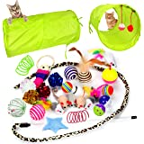 Youngever 24 Cat Toys Kitten Toys Assortments, 2 Way Tunnel, Cat Feather Teaser - Wand Interactive Feather Toy Fluffy…
