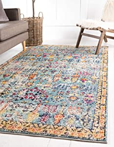 Rugs.com El Paso Collection Rug – 4' x 6' Blue Medium Rug Perfect for Living Rooms, Large Dining Rooms, Open Floorplans