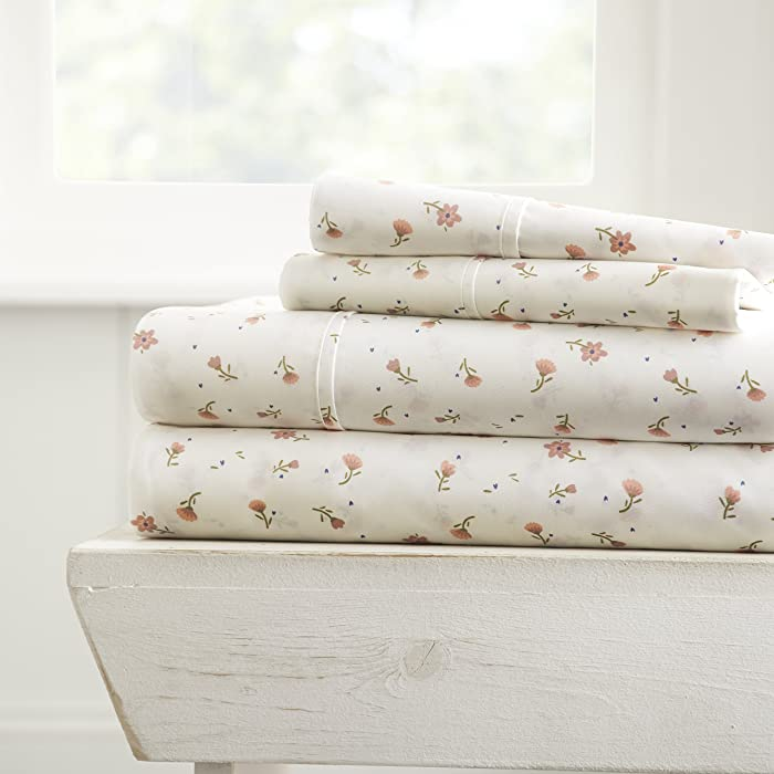 ienjoy Home 4 Piece Sheet Set Patterned, Full, Soft Floral Pink