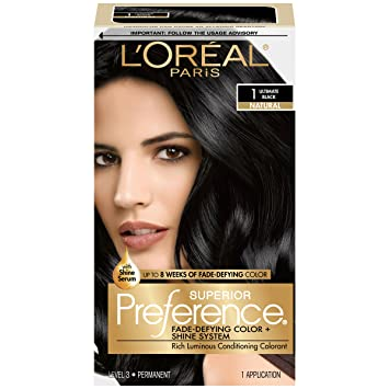 L Oreal Paris Superior Preference Fade Defying Shine Permanent Hair Color 1 0 Ultimate Black 1