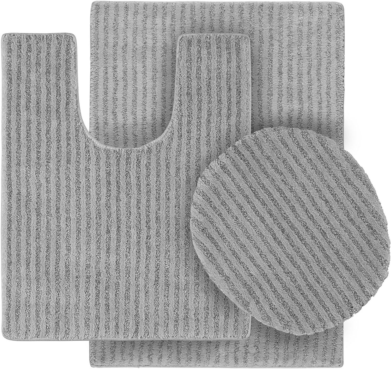 Garland Rug 3 Piece Sheridan Nylon Washable Bathroom Rug Set Platinum Gray Home Kitchen