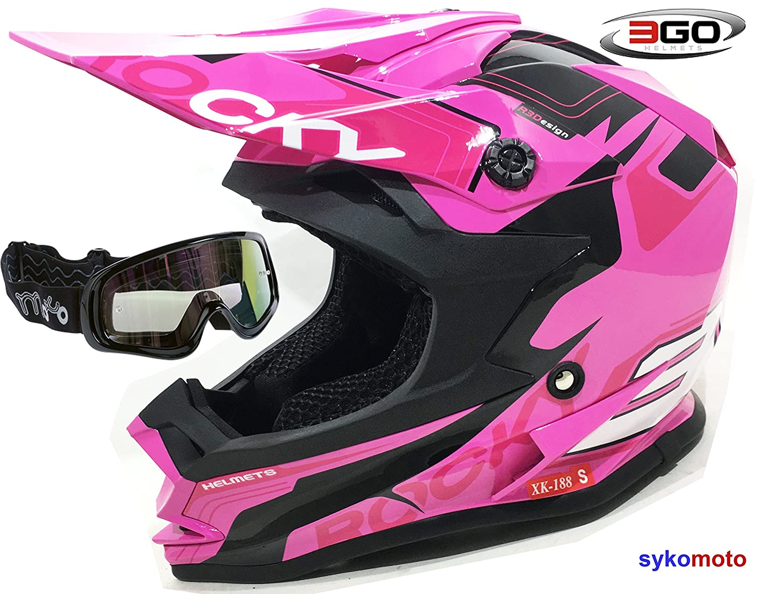 3GO XK188 ROCKY CASCO DE CHICAS NIÑ AS MOTOCROSS OFF ROAD ATV QUAD ENDURO ROSA CON GAFAS NEGRO (XL (53 - 54 CM))