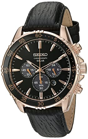 c77a1b42d Image Unavailable. Image not available for. Color: Seiko Men's 'Chronograph'  Quartz Gold and Black Leather Dress Watch ...