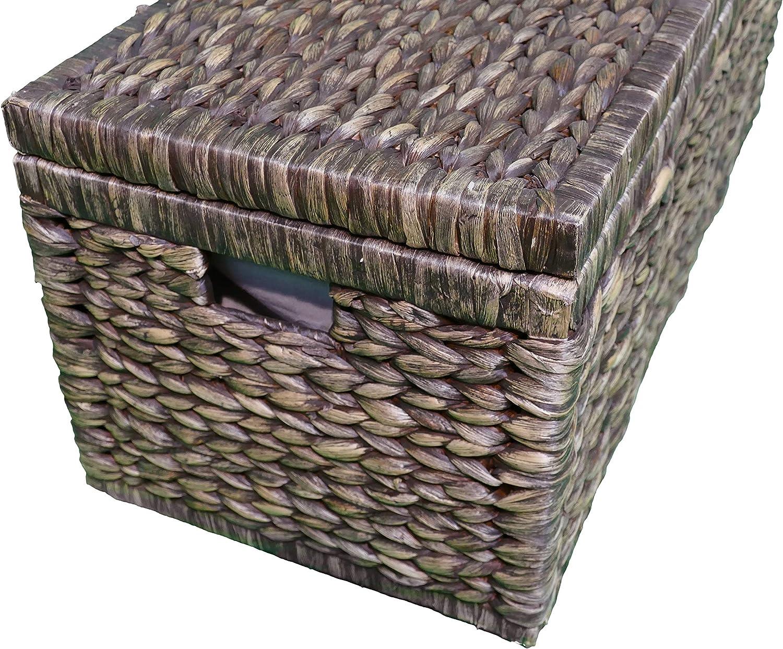 Artra Design Geflecht Truhe mit Klappdeckel 80 cm braun BSCI atmungsaktiv Aufbewahrungsbox mit Deckel Aufbewahrungskiste Aufbewahrungstruhe W/äschetruhe