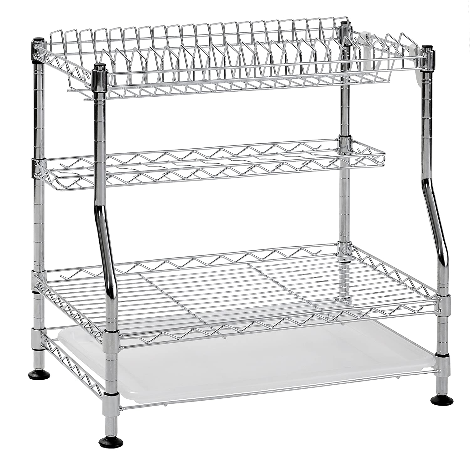 Muscle Rack WDR181217 3-Tier Wire Dish Rack, Chrome, 17 Height, 18 Width 17 Height 18 Width