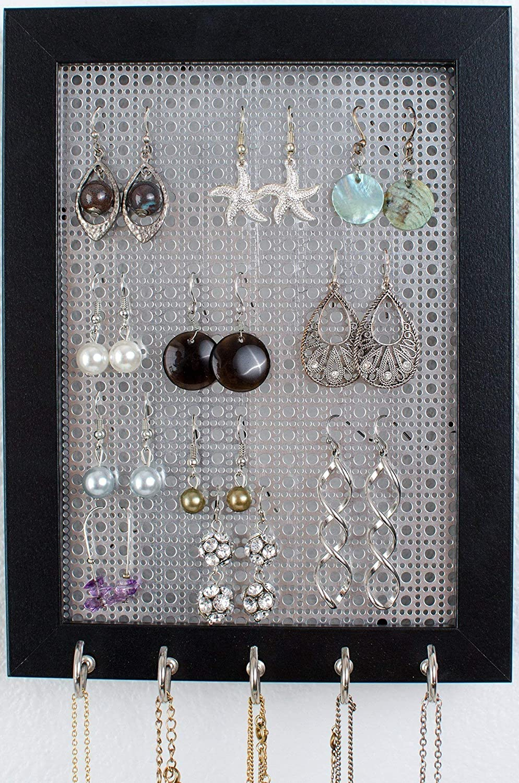 Hook Earring & Necklace Organizer - 5x7 Frame Size - Metal Screen - Jewelry Organizer