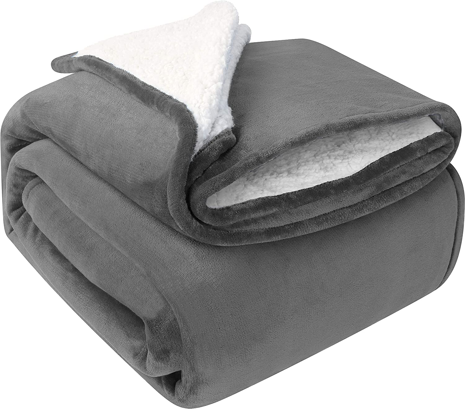 Utopia Bedding Sherpa Bed Blanket Throw Size Grey 480GSM Plush Blanket Fleece Reversible Blanket for Bed and Couch: Kitchen & Dining
