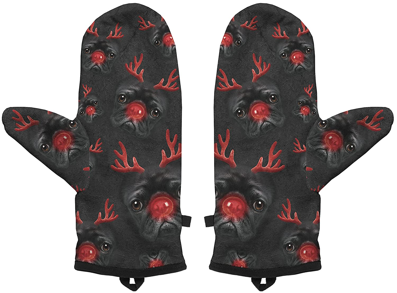 Fringoo Big Boys Mittens Winter Gloves Fully Printed Christmas Dog Warm Gloves One Size Fits S M Reindeer Pug