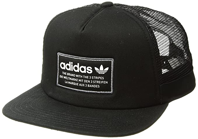 sale retailer b0fe4 4354f adidas Men s Originals Patch Trucker Structured Cap, Black White Onix, One  Size