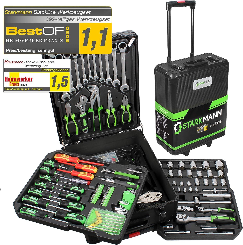 STARKMANN Blackline 399 piezas Caja de herramientas superior caja de herramientas maletín en trolley de aluminio con bloqueo: Amazon.es: Jardín