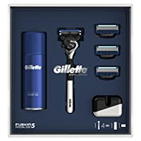 Gillette Fusion5 Proglide Chrome Razor Limited Edition Gift Pack with 3 Blade Refills, Shaving Gel + Razor Stand