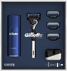Gillette Fusion5 Proglide - Maquinilla de afeitar (cromo, edición limitada, 3 recambios, gel de afeitado y soporte para maquinilla de afeitar): Amazon.es: Salud y cuidado personal
