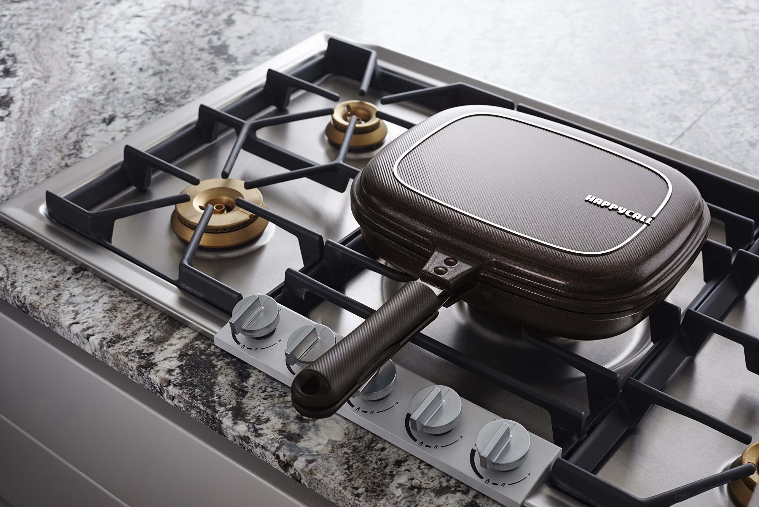Happycall Titanium Nonstick Double Pan, Omelette Pan, Flip Pan, Square, Dishwasher Safe, PFOA-free, Brown (Jumbo Grill) by Happycall (Image #5)