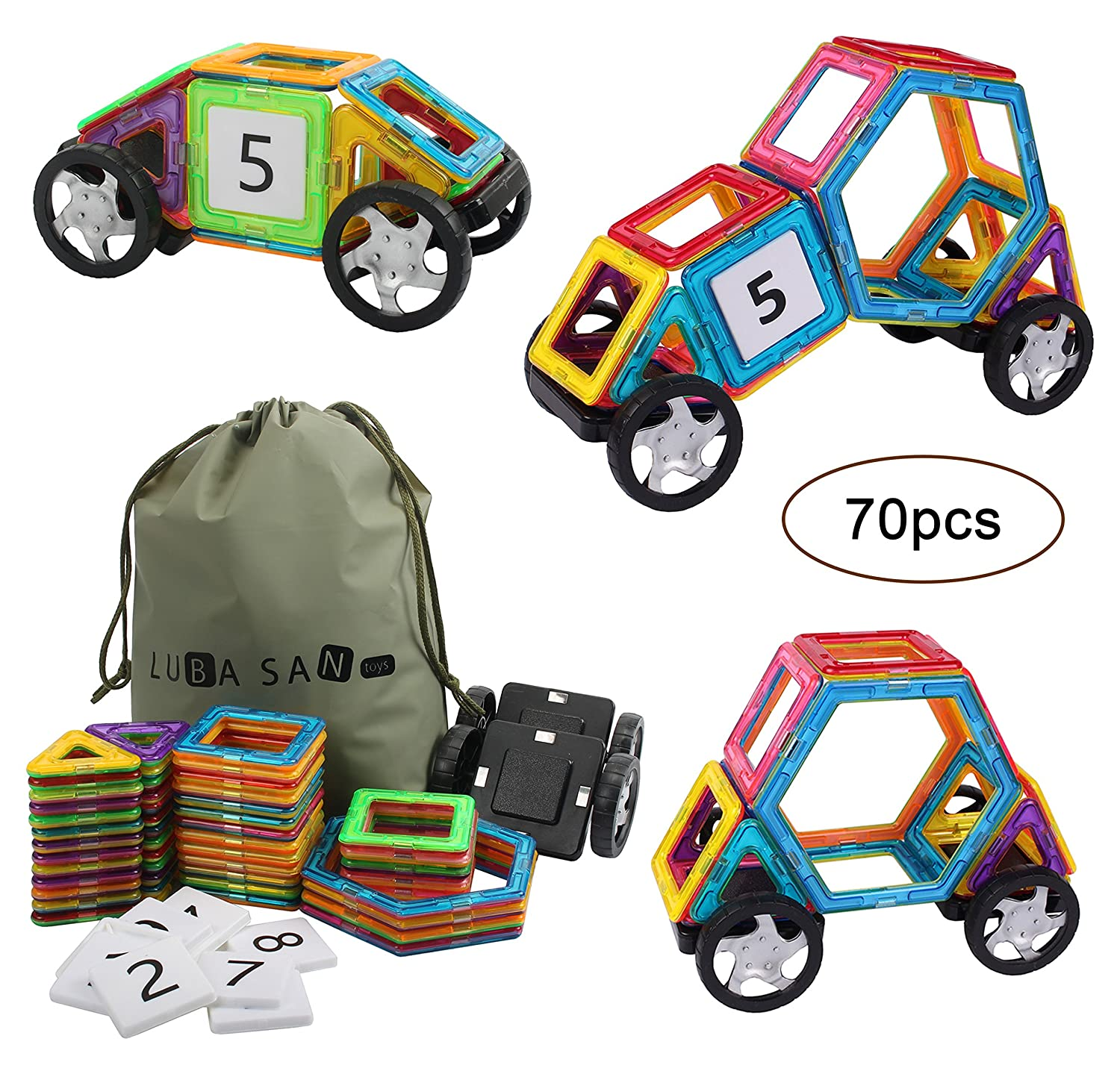 Magnetic Building Blocks Tiles Educational Construction Stacking Toys Set-70PCS with Storage Bag for Boys and Girls.Great Christmas Gift. Review