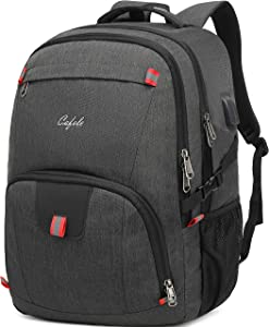 CAFELE Backpack,Waterproof Large 17in Laptop Backpack for Trip School Work Bookbag Computer Rucksack with USB Charging Port,Water Resistant Sturdy Backpack for Men Women,Grey