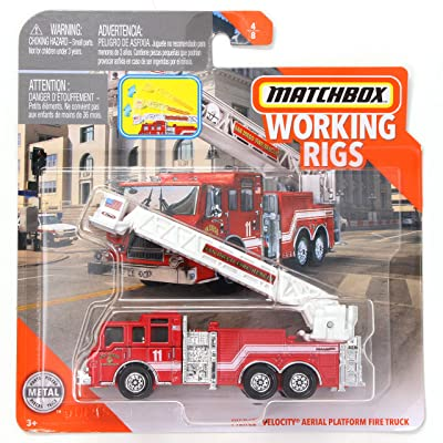 Matchbox Working Rigs San Diego Fire Rescue Pierce Velocity Aerial Platform Fire Truck, Red: Toys & Games [5Bkhe1100673]