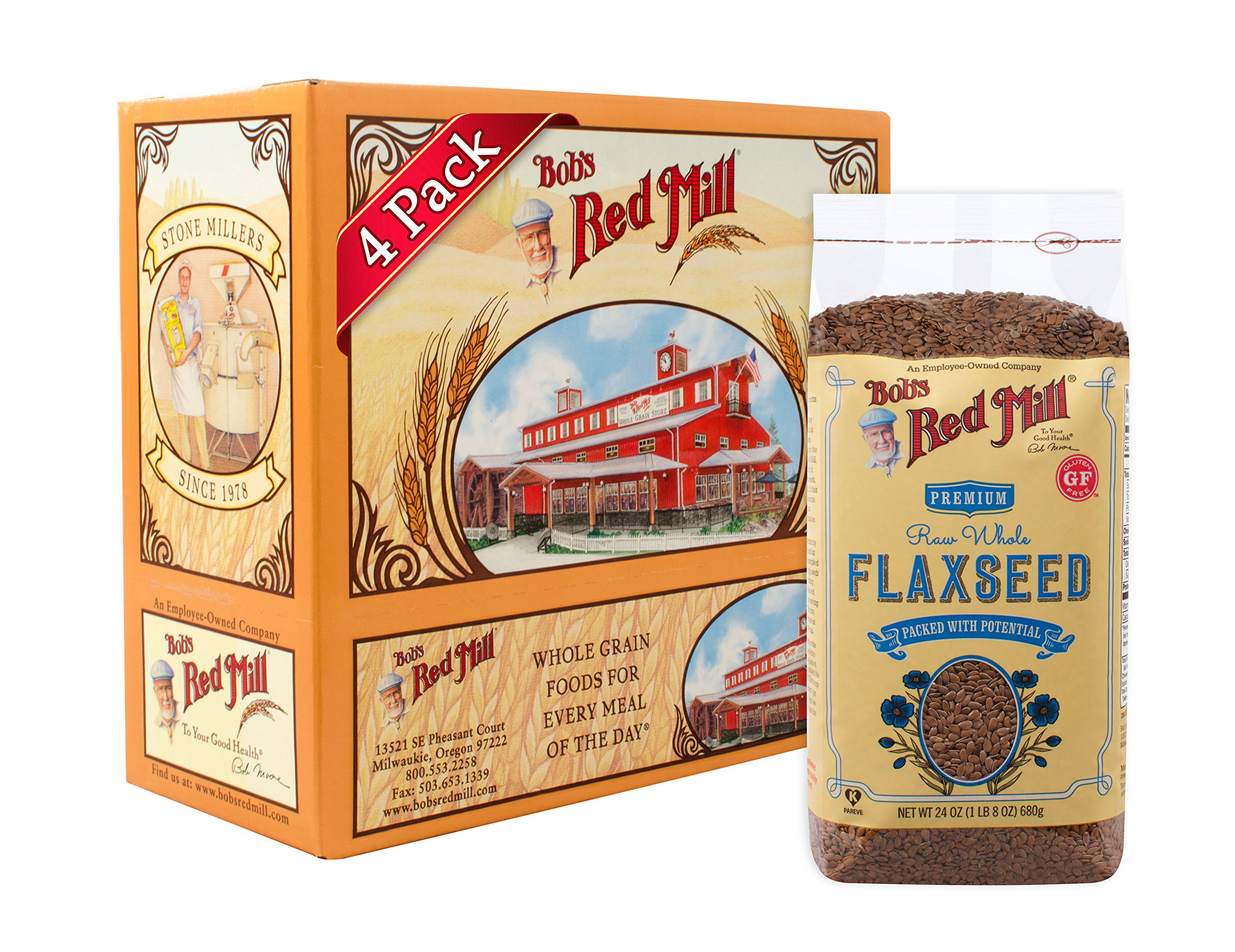 Bob's Red Mill Raw Whole Brown Flaxseed, 24 Ounce (Pack of 4)