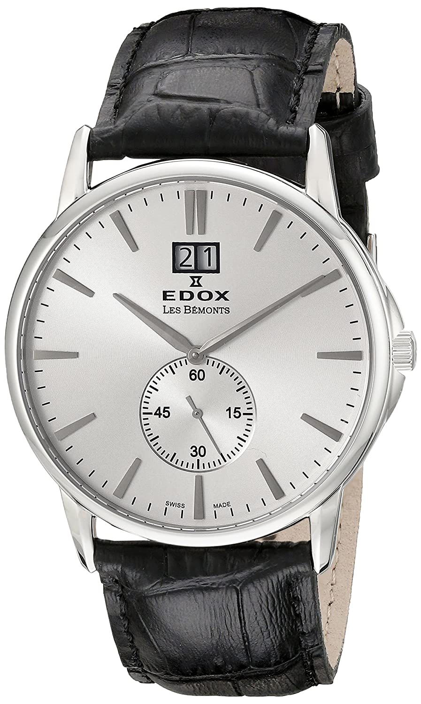 EDOX Unisex-Armbanduhr EDOX LES BÈMONTS BIG DATE Analog Quarz Leder 64012 3 AIN