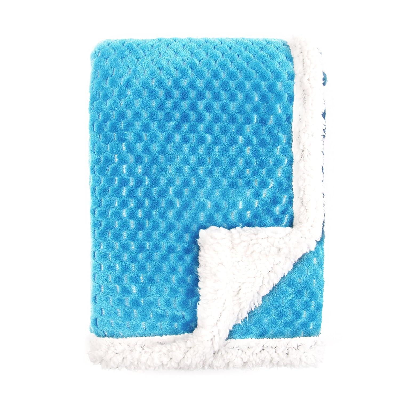 Tadpoles Popcorn Plush and Sherpa Ultra-Soft Baby Blanket, Dark Blue BSBBPS014