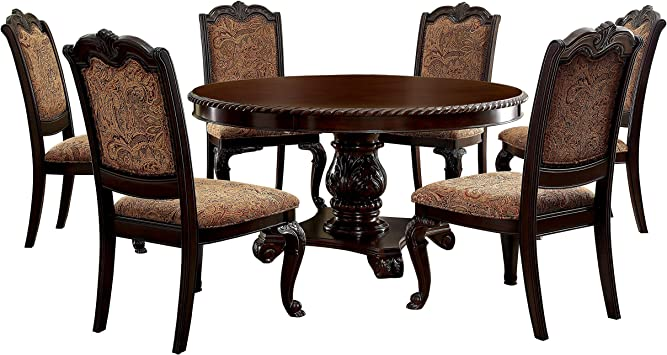 Amazon.com - 247SHOPATHOME Laris 7-Piece Round Dining Set, Brown ...