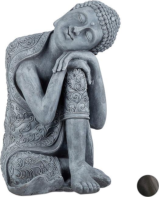 Relaxdays Estatua Buda pensativo para jardín o salón, Resina Sintética, Gris Claro, 60 cm: Amazon.es: Hogar