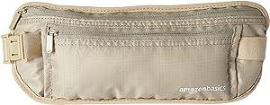 AmazonBasics RFID Travel Waist Belt Fanny Pack - Khaki
