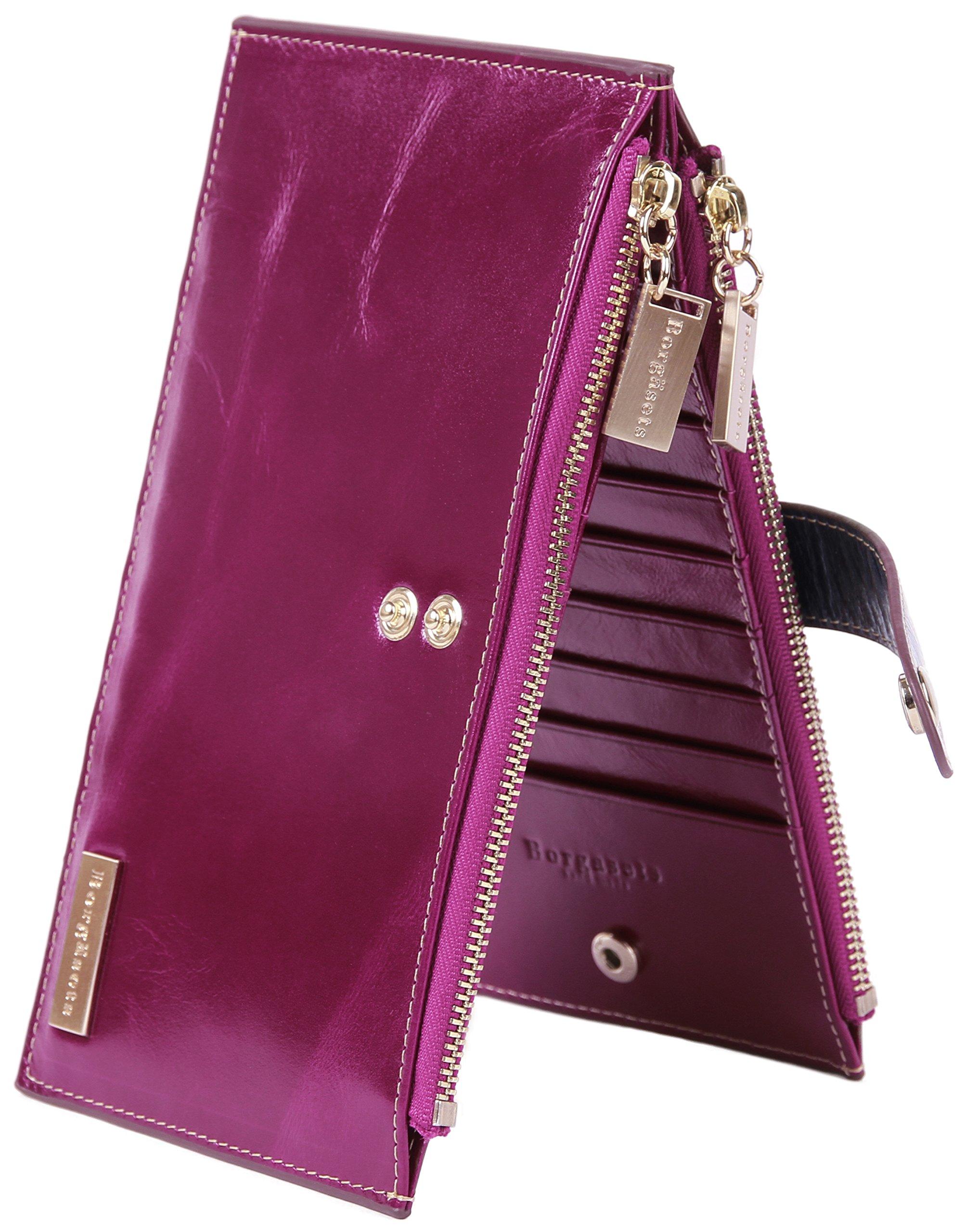 Borgasets RFID Blocking Women's Genuine Leather Wallet Credit Card Holder Zipper Purse Purple