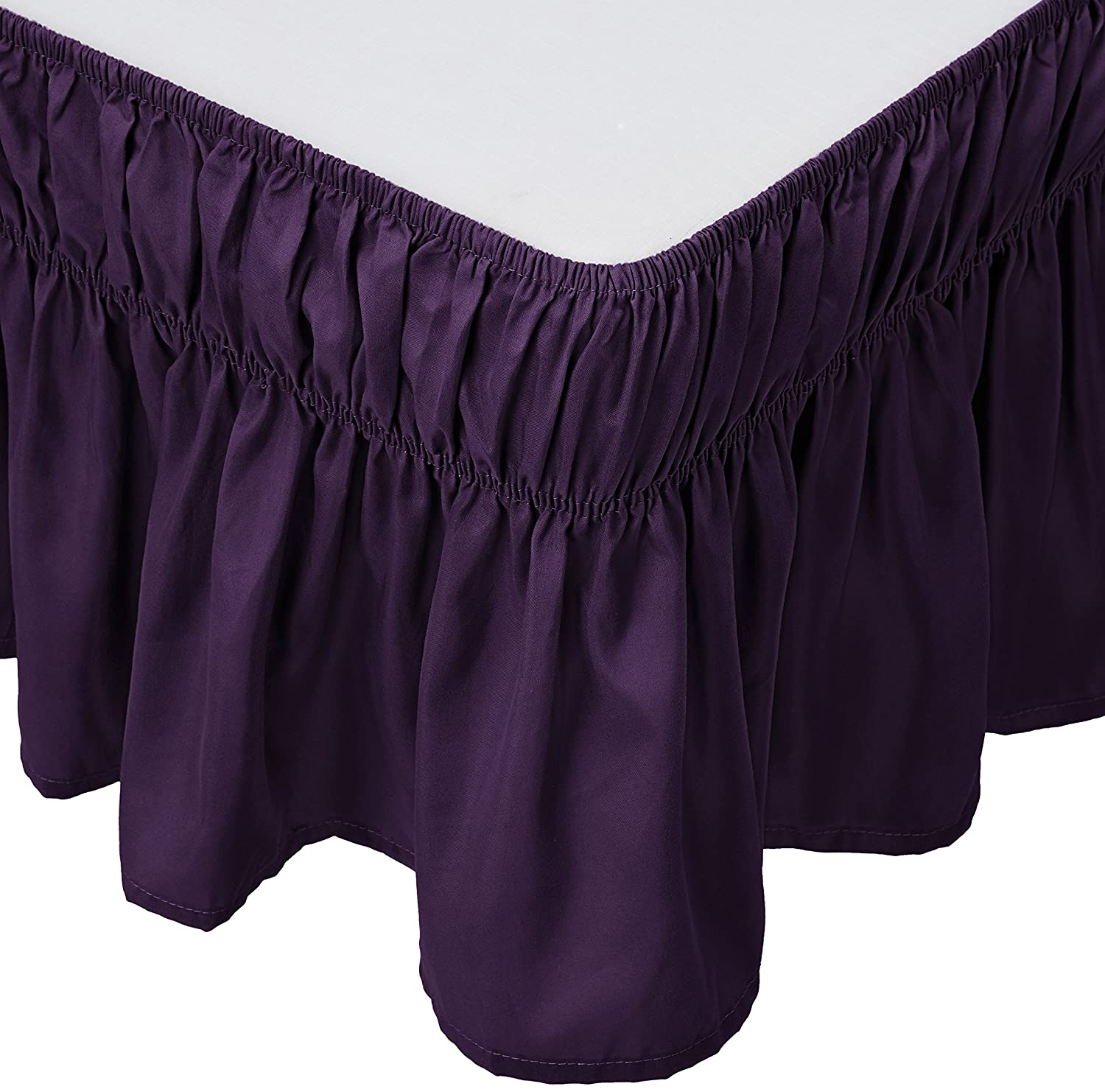 Mk Collection Wrap Around Style Easy Fit Elastic Bed Ruffles Bed-Skirt Queen-king Solid Dark Purple New