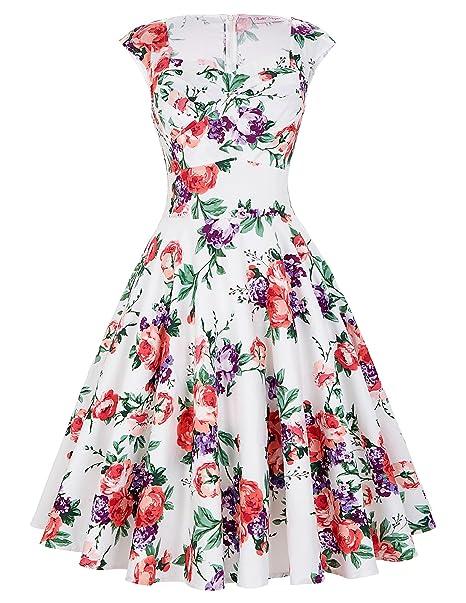 Belle Poque 50s estilo Vintage vestidos de corazones cuello BP105 (Multicolor) - - L