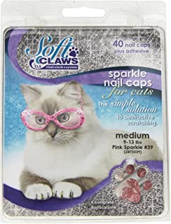 Feline Soft Claw Nail Caps, Medium, Pink Sparkle