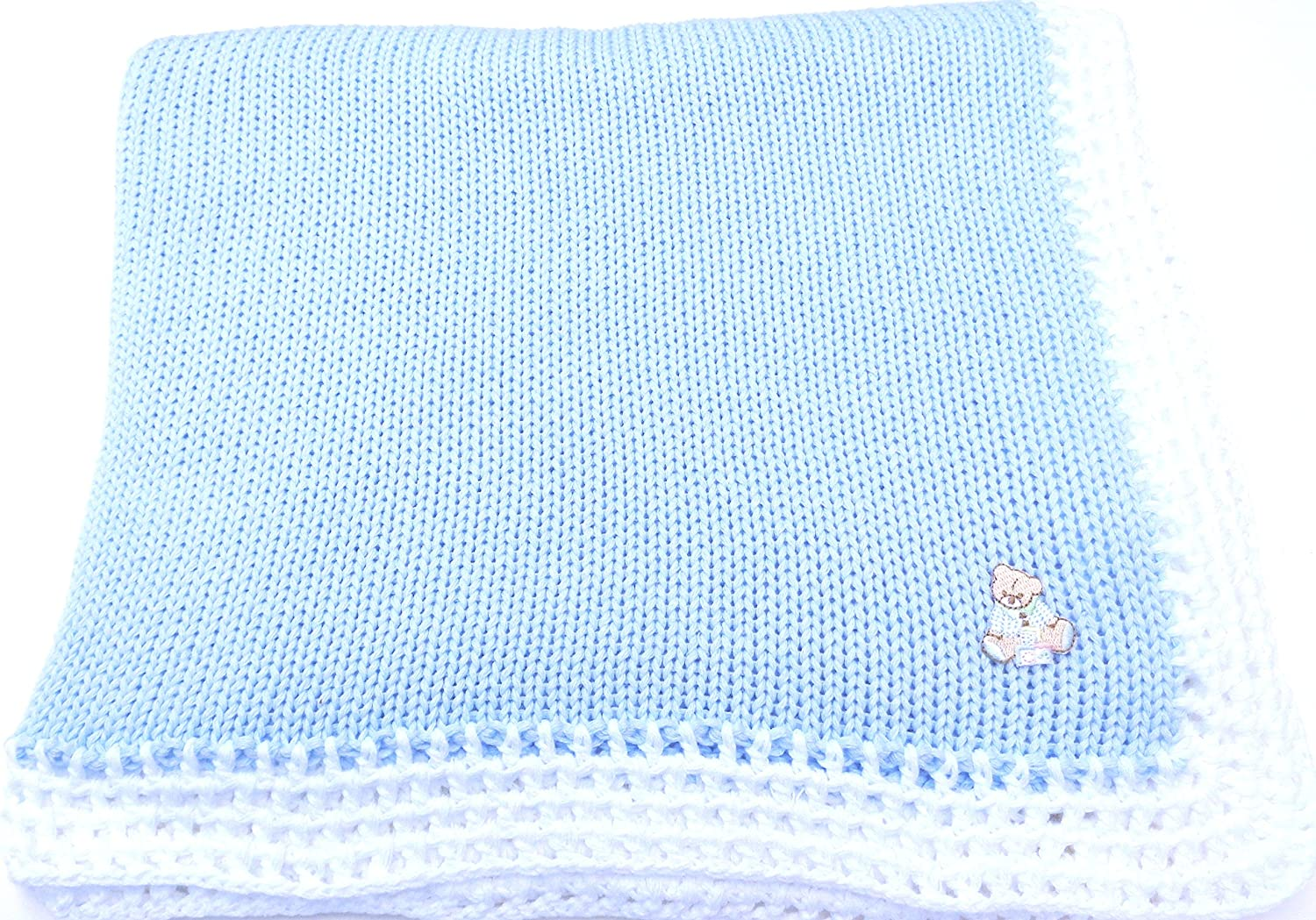 SONA Knitted Crochet Finished Blue Cotton White Trim Baby Blanket with Applique'.