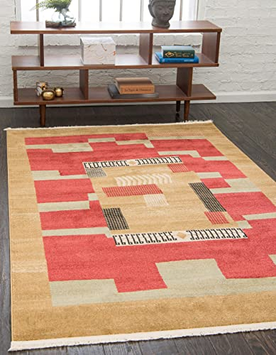 Unique Loom Fars Collection Tribal Modern Casual Rust Red Area Rug 9' 0 x 12' 0