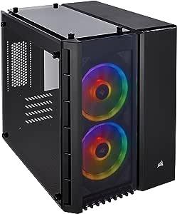 CORSAIR CRYSTAL 280X RGB Micro-ATX Case, 2 RGB Fans, Lighting Node PRO included, Tempered Glass - Black (CC-9011135-WW)