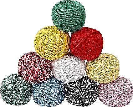100m Coton Boulangers Ficelle Cordon Bouteille en Verre Bo/îte Cadeau Decor Craft Jaune + Blanc
