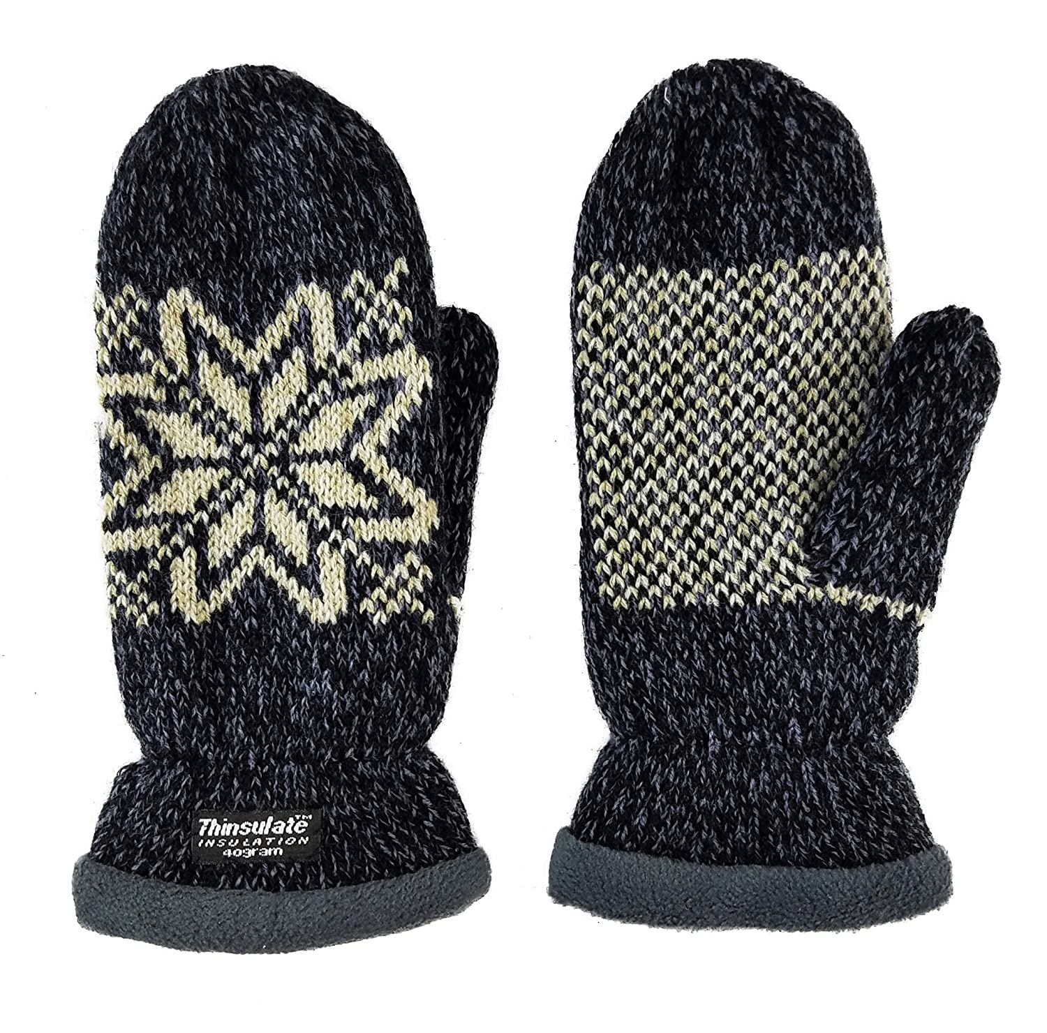 Bruceriver Women Snowflake Knit Mittens with Warm Thinsulate Fleece Lining Size S (Black) HESHI BR16G102-Black Size S