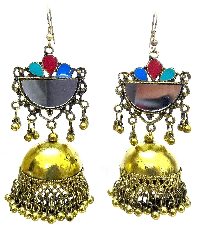 DESI HAWKER Golden Oxidized Earring Bali Jhumki Jhumka Jewelry Bollywood Drop Dangle Chandelier Mirror NI-92