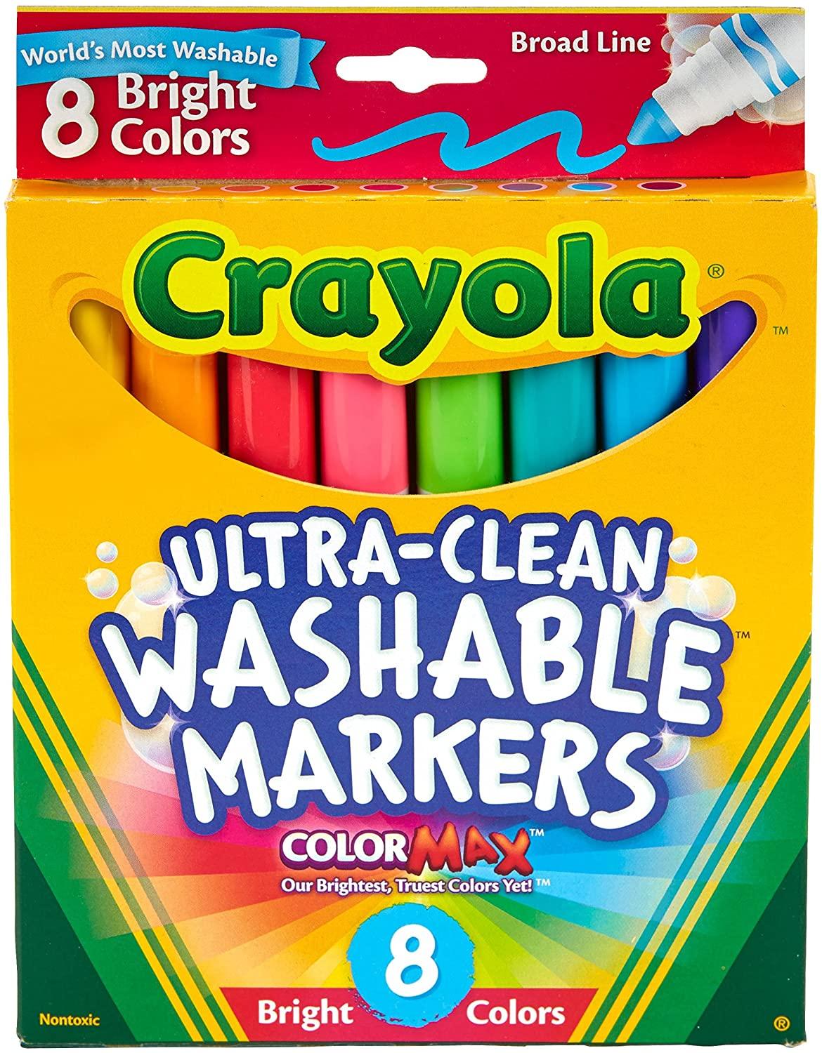 Crayola 8 Count Washable Bright Markers Binney & Smith 58-7819