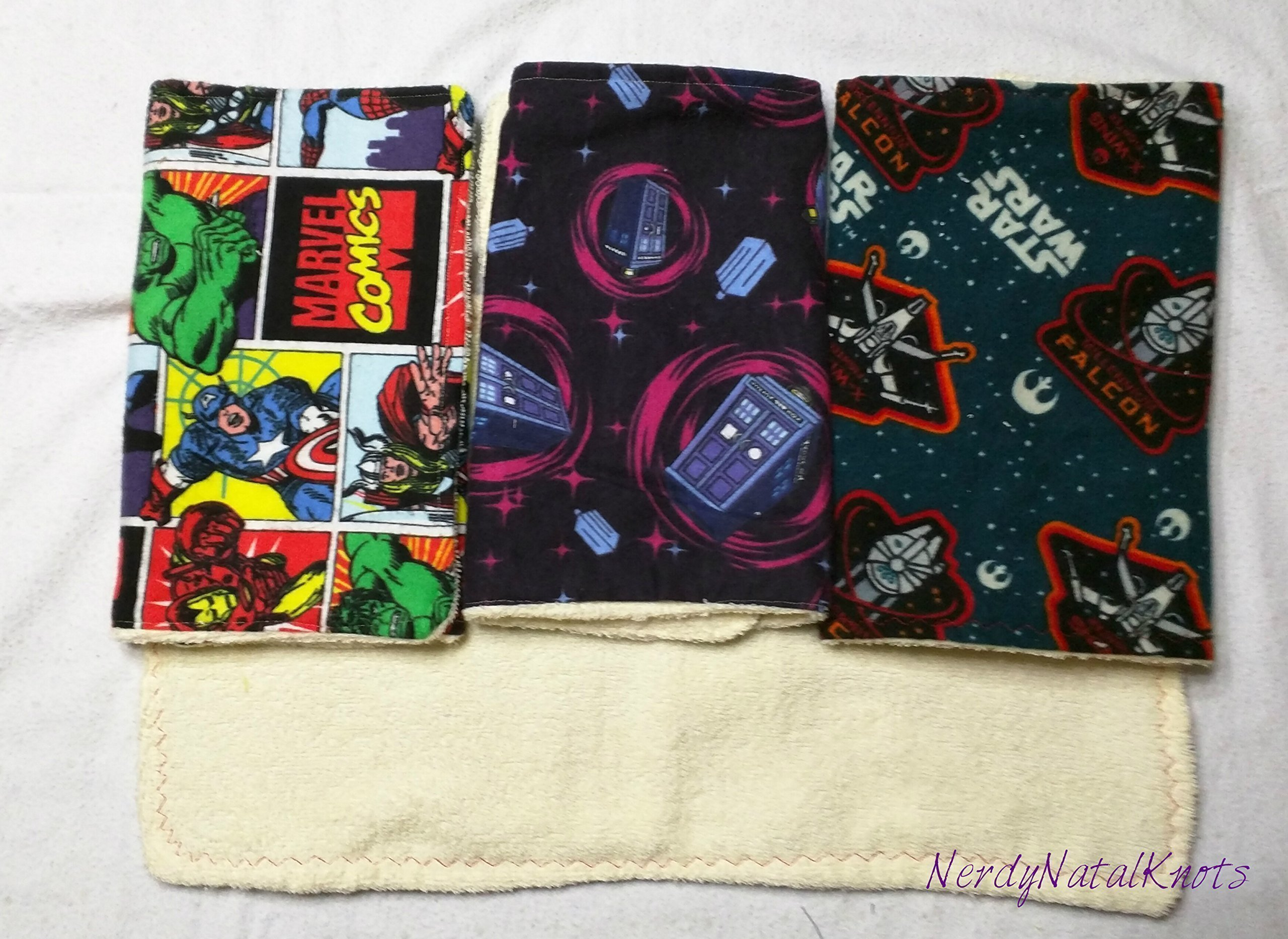 Set of 4 Geeky Burp Cloths