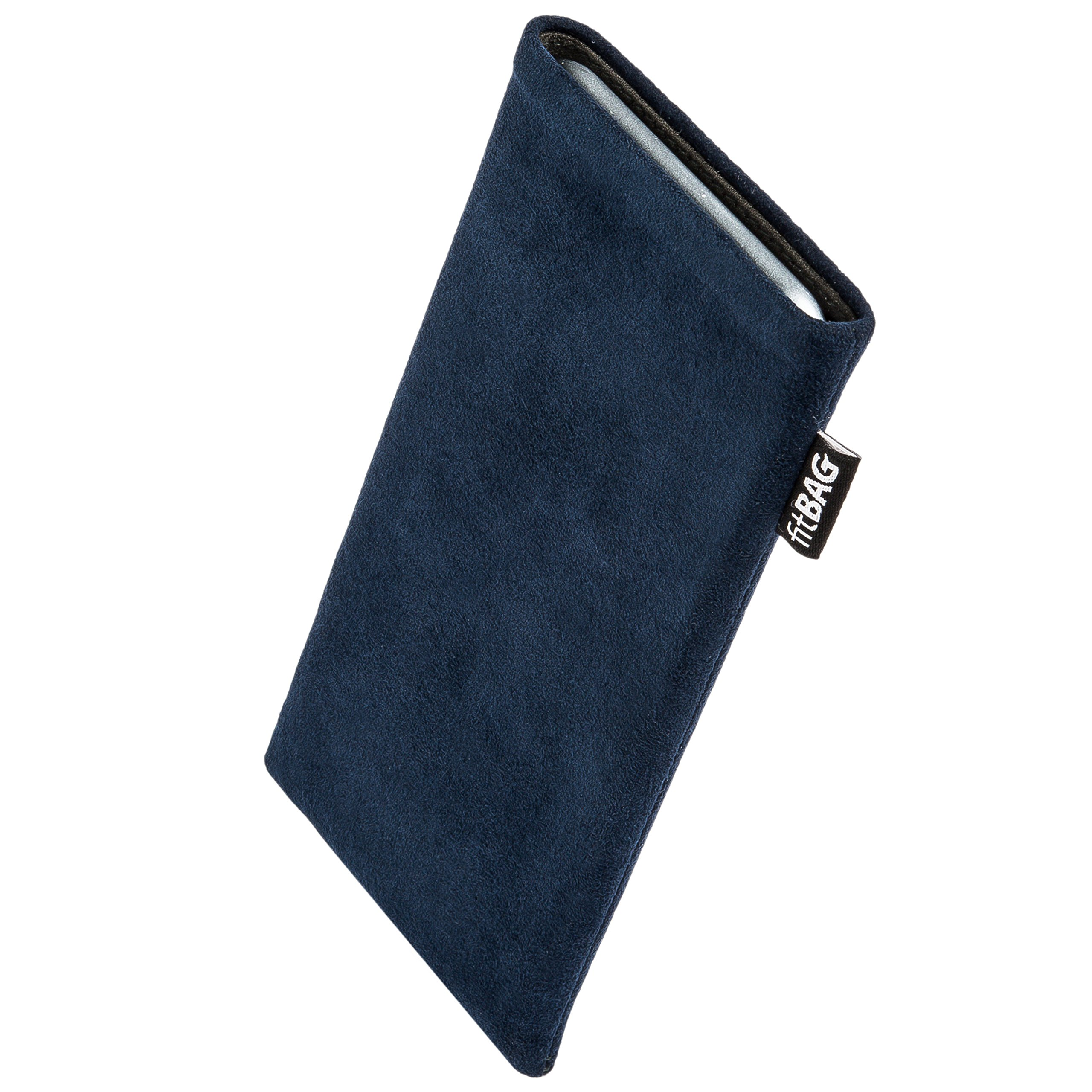 fitBAG Classic Blue Custom Tailored Sleeve for Samsung Galaxy S10+ / S10 Plus (SM-G975F) | Made in Germany | Genuine Alcantara Pouch case Cover with Microfibre Lining for Display Cleaning