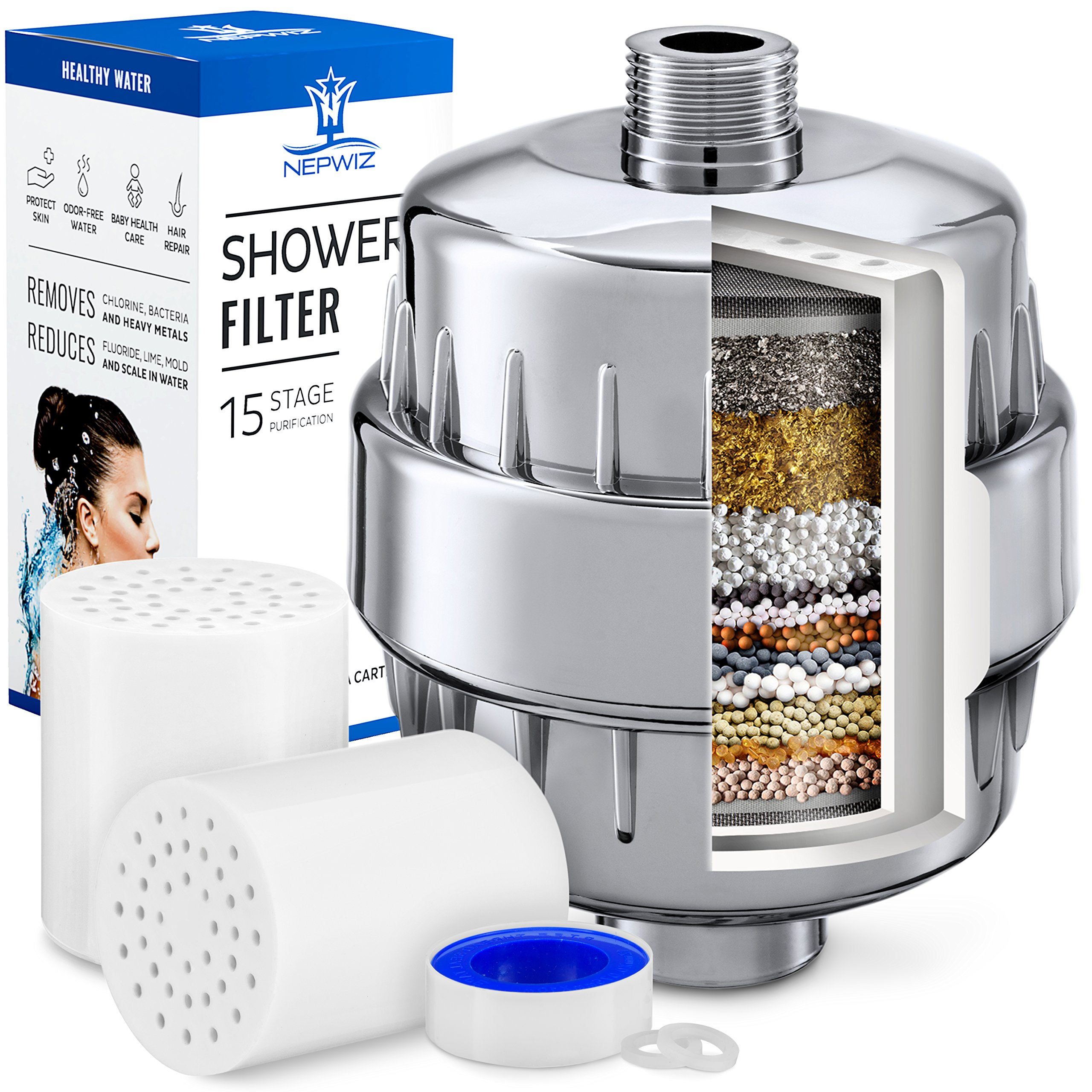 15 Stage Shower Filter with Vitamin C for Hard Water - 2 Replacement Cartridge in the Kit - Shower Water Filter Removes Chlorine & Sediments - Reduces Flouride & Chloramine - Fits Any Shower Head
