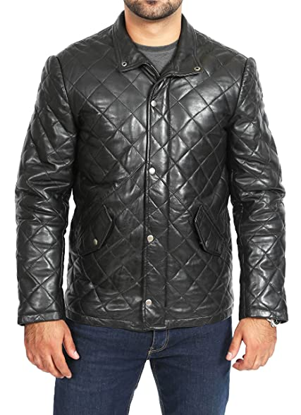 Fitted leather jacket mens